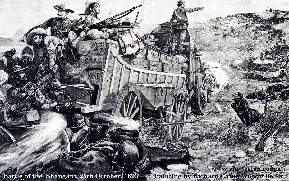 Painting of The Battle of the Shangani on 25th October 1893 by Richard Caton-Woodville, Jr