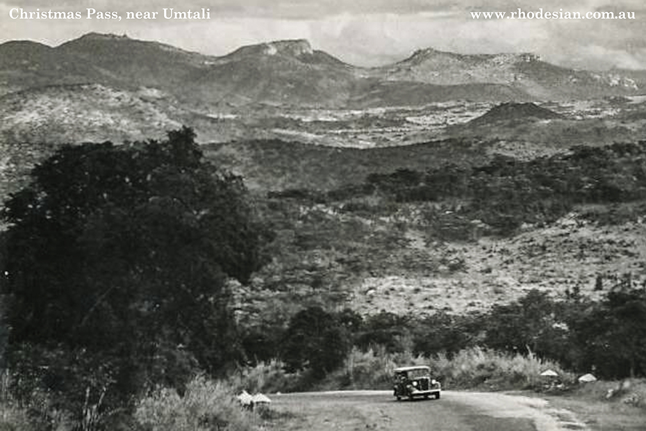 Photo of car driving up Christmas Pass from Umtali in Rhodesia
