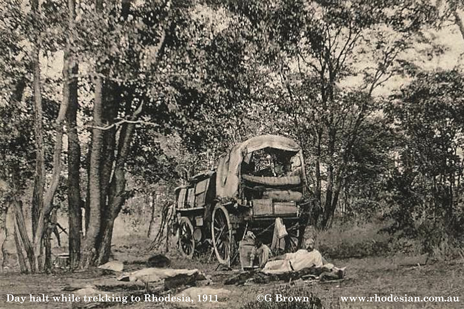 Photo of day halt on trek from South Africa to rhodesia in 1911