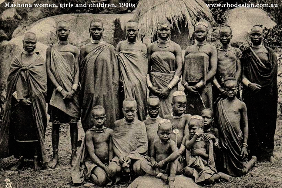 Photo of Mashona women, young girls and childern in early 1900s