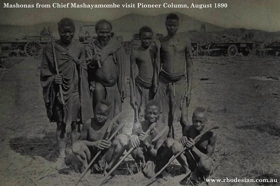 Photo of Mashona warriors from Chief approach Pioneer Column in August 1890