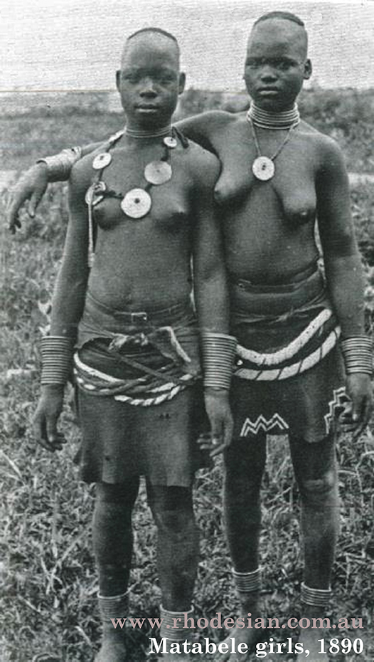 Photo of Matabele girls in 1890