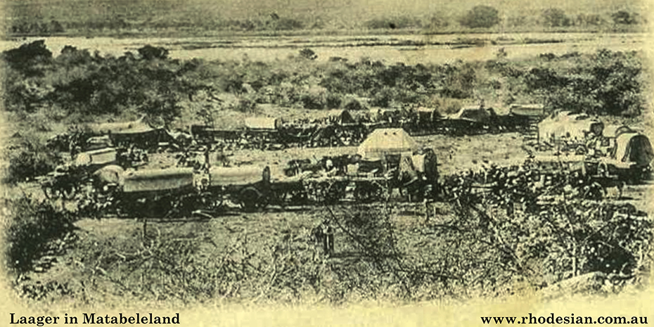Photo of wagons in laager in Matabeleland in Rhodesia