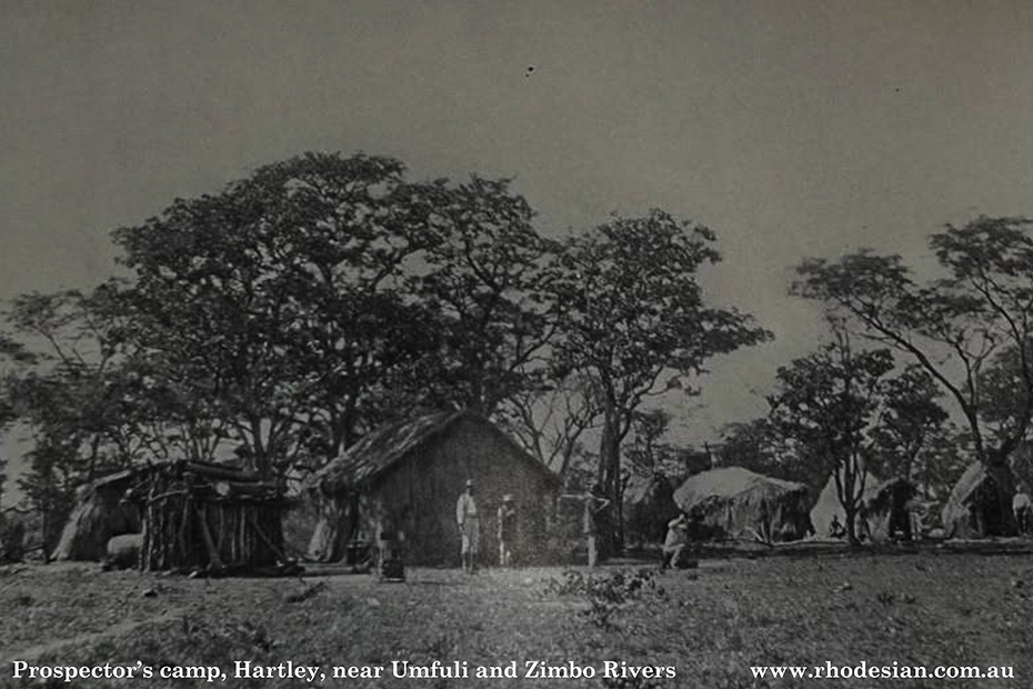 Photo of prospectors' camp near Hartley at confluence of Umfuli and Zimbo Rivers in Rhodesia