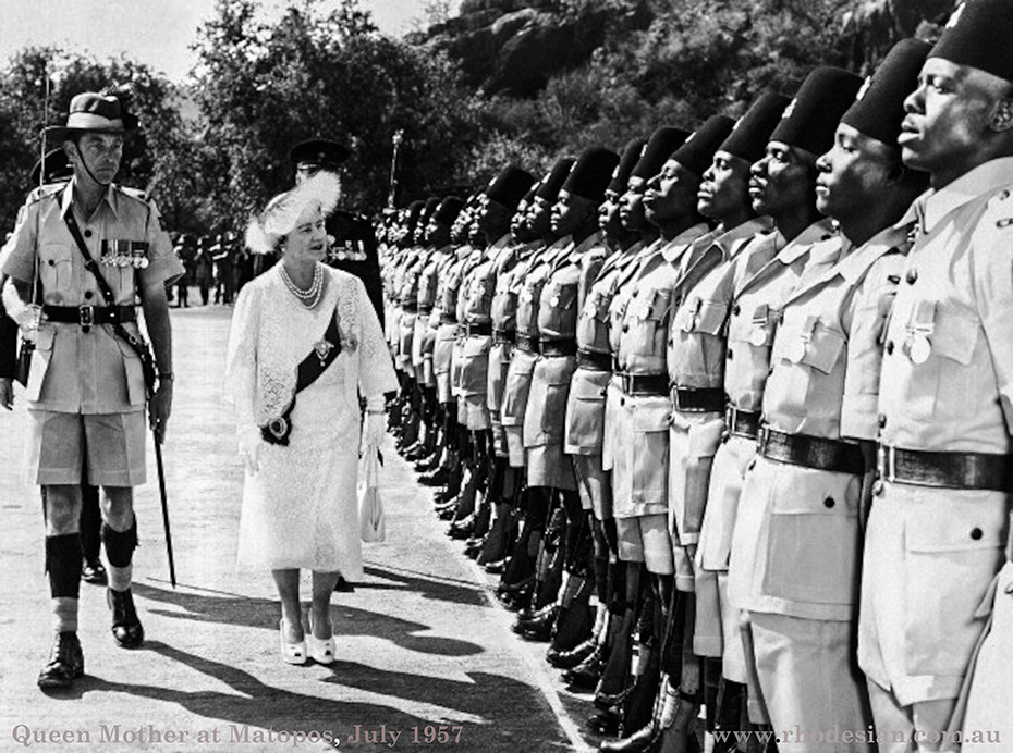 Photograph of Queen Mother inspecting Kings African Rifles at Matopos near Bulawayo in Rhodesia in 8th July 1957