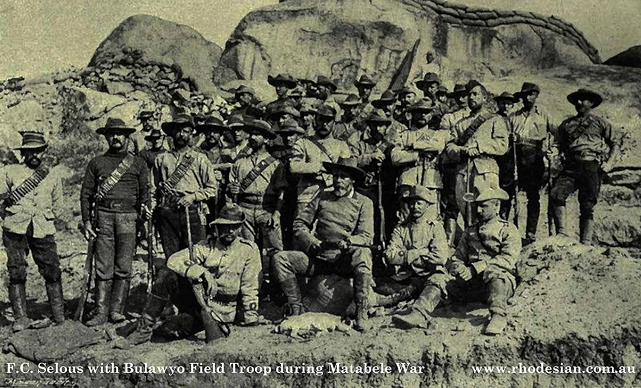Photo of Frederick Courtney Selous with Bulawayo Field Troop during Matabele War at Fort Marquand