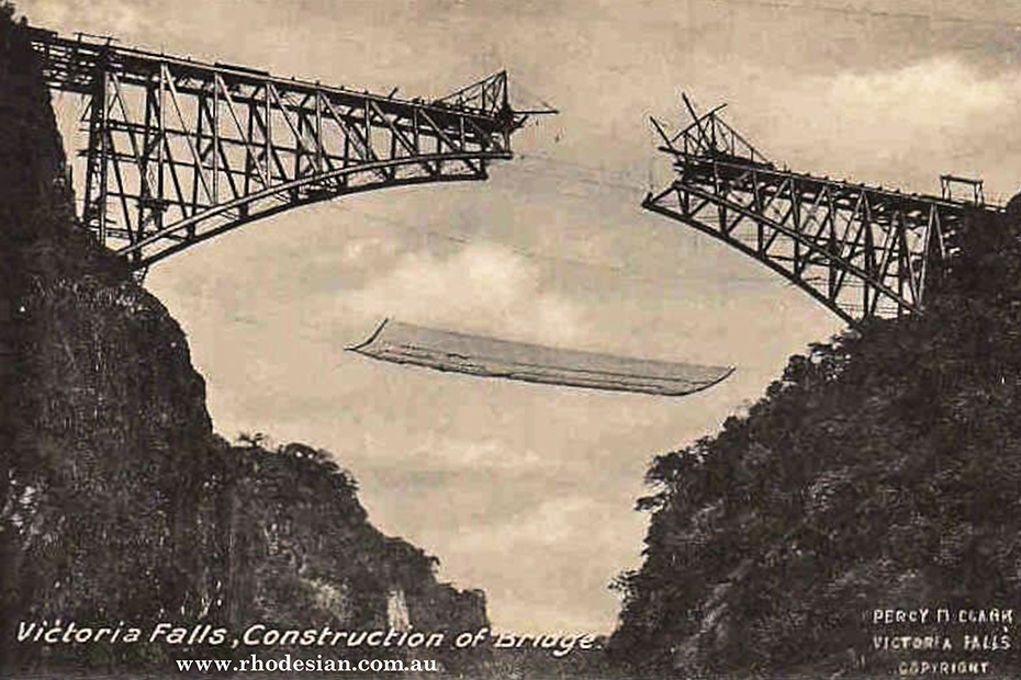 Photograph of two spans of Victoria Falls bridge during construction