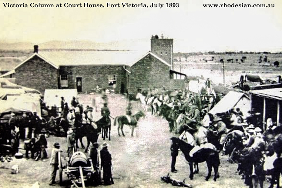 Photo of Victoria Column outside Court House in Fort Victoria in July 1893