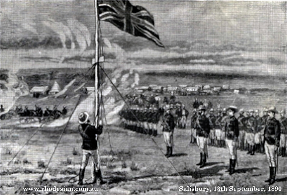 Photo of Lieutenant Edward Tyndle-Biscoe raising the flag for the Pioneer Column in Salisbury on 13th September 1890 in Rhodesia