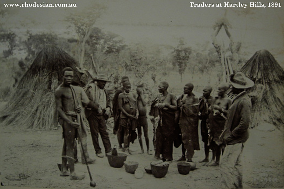 Photo of natives trading at Hartley Hills in 1891