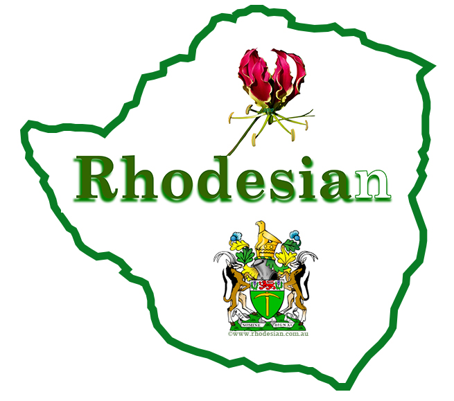 ©Rhodesian website logo with Flame lily, Rhodesian coat of arms and the word Rhodesian