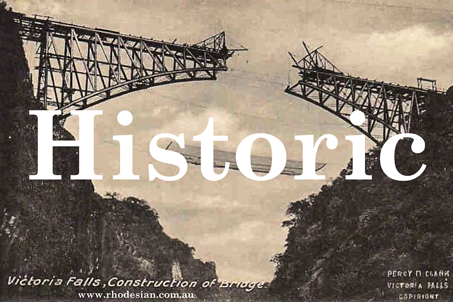 Button with photo of construction of bridge at Victoria Falls to select gallery of Historic photographs which trace Rhodesian history